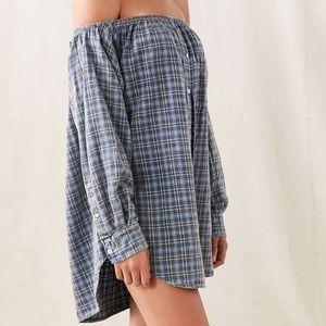 Urban Renewal Off Shoulder Flannel T-Shirt Dress